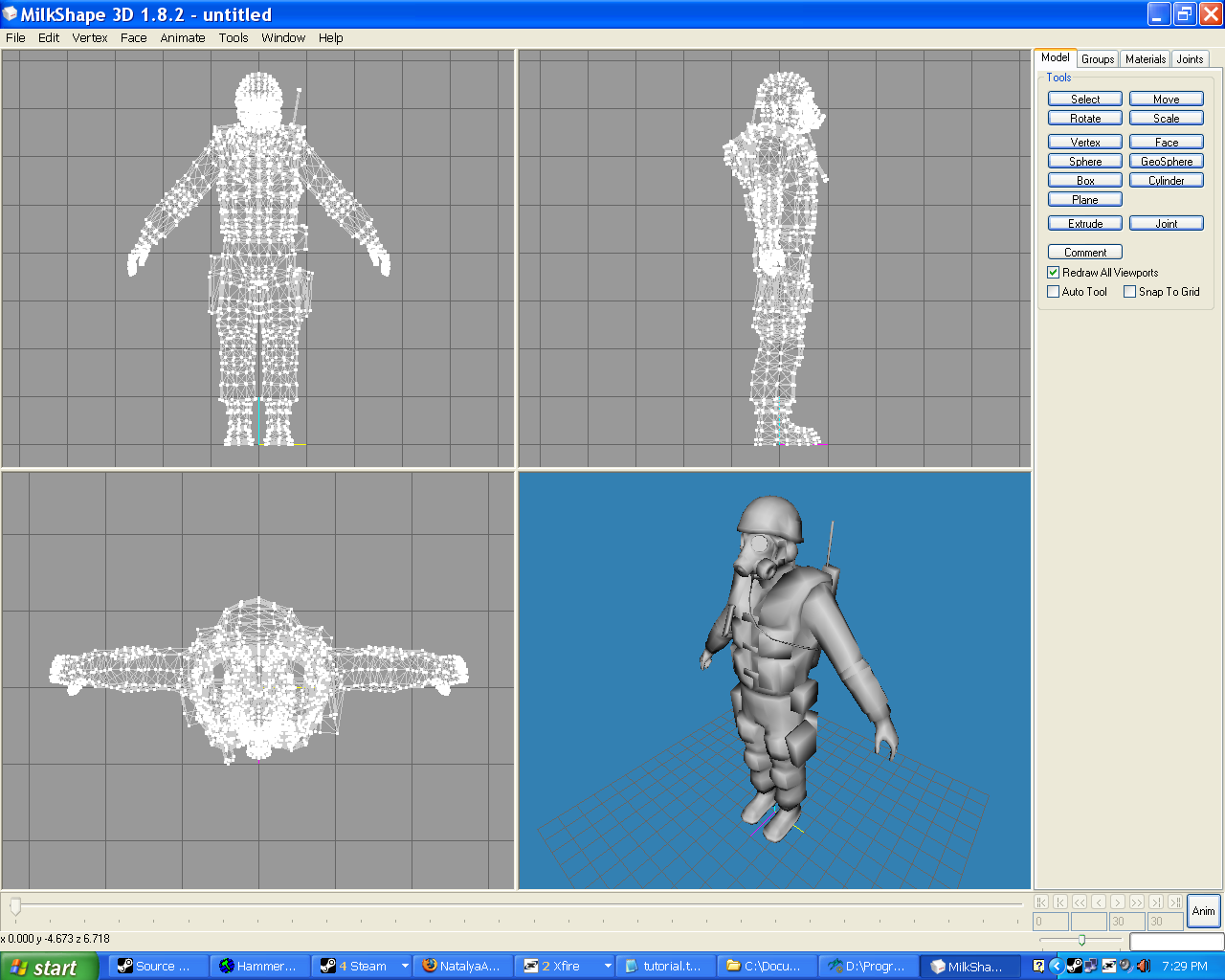 Player model editing for n00bs counter strike source 3d model editor